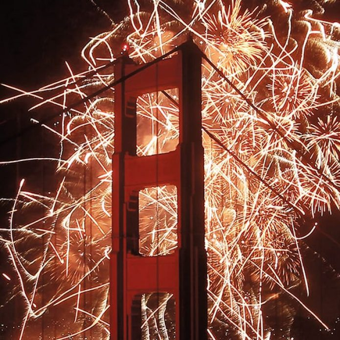 SAN FRANCISCO, CA - MAY 27:  Fireworks explode over the Golden Gate Bridge on May 27, 2012 in San Francisco, California.  The Golden Gate Bridge celebrates its 75th anniversary today. The 1.7 mile steel suspension bridge, one of the modern Wonders of the World, opened to traffic on May 27, 1937.  (Photo by Ezra Shaw/Getty Images)